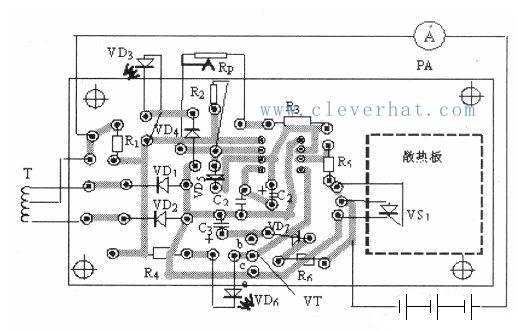 用555时基电路制作的蓄电池充电电路PCB