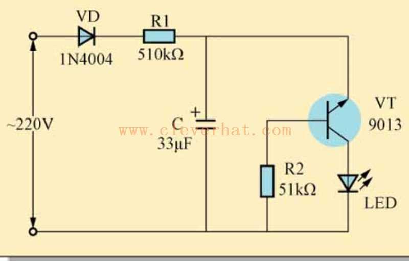 交流电闪烁指示灯电路图