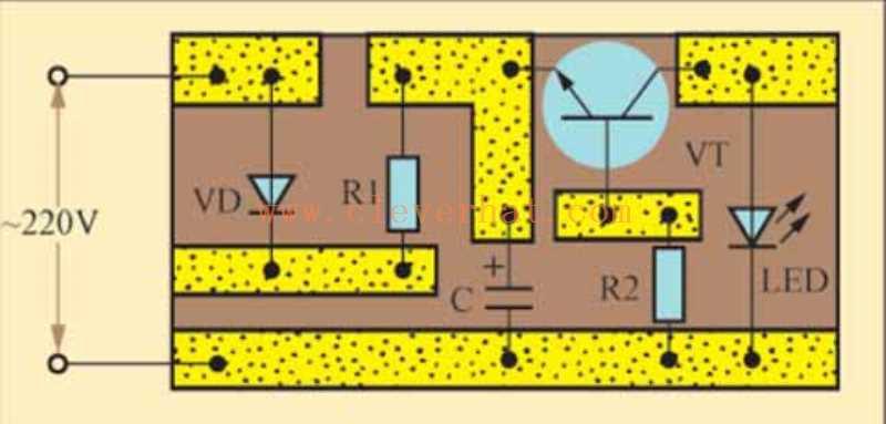 交流电闪烁指示灯印制电路板接线图
